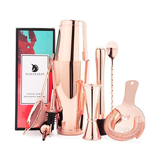 Kupfer Cocktail Shaker Set - Premium 9-teilig Edelstahl Boston Shaker Set mit Hawthorne Barsieb Set, Messbecher, Barstößel, Barlöffel & 2 Weinausgießer