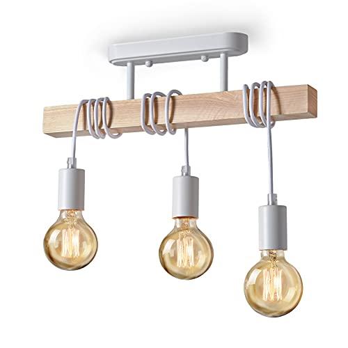 Lightess Lampadario Legno Lampada a Sospensione Vintage Lampadario a Soffitto Illuminazione Metallo E27 40W per Camera da letto, Soggiorno, 3 Luci, Bianco