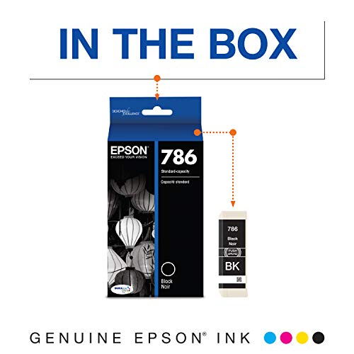 EPSON T786 DURABrite Ultra Ink Standard Capacity Black Cartridge (T786120-S) for Select Epson Workforce Printers