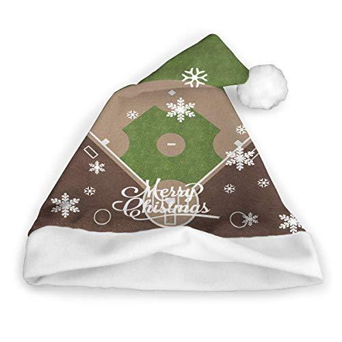 ghkfgkfgk American Baseball Field Mit Weißen Markierungen Gemalt Auf Grasdruck Weihnachtsmütze Weihnachtsmütze Kurzer Plüsch Mit Weißen Manschetten Weihnachtsmütze Aus Plüsch Für Erwachsene