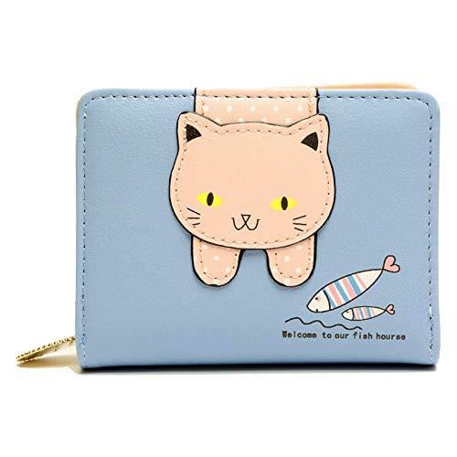 Damen Karikatur Katzen Portemonnaie, Katze Dekoration Reißverschluss Geldbörse, Leder Kleine Geldbörse mit Reißverschluss, Geschenke für Mädchen (Blau)