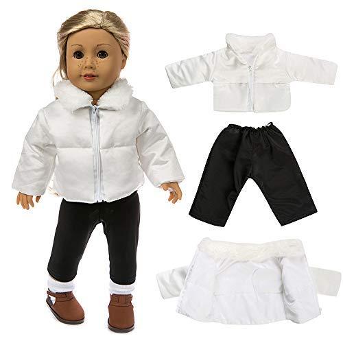 mxjeeio Plus Samt weiße Daunenjacke Schwarze Hosenanzug 18-Zoll-Puppe Kleidung Cartoon Puppe Dressing Baumwolle Jacke Kleidungssatz Geschenk Für Kinder