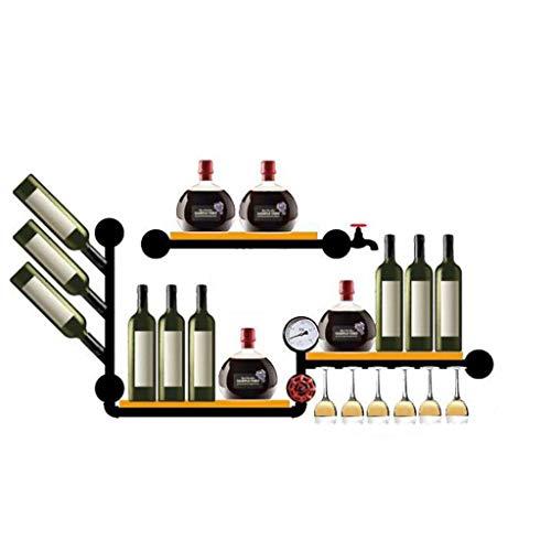 Casier à vin Loft Vent Industriel Décoration Murale Bar Suspendu Étagère En Bois En Fer Forgé 110 * 55cm