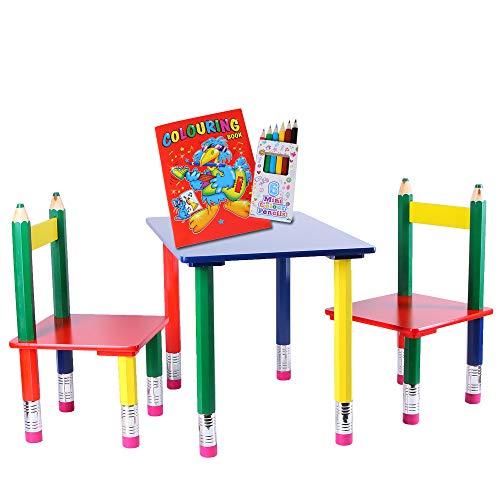 Kindersitzgruppe 3-teilig | Tischgruppe Bleistift | Sitzgruppe MDF und Massivholz | Kinder Tisch und Stühle | Kindertisch mit Stühlen | Sitzgruppe bunt Kinderzimmer | Kindermöbel + Malbuch und Stifte