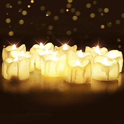 Homemory Flameless LED Tea Light Candles with Timer, Set of 12 Battery Operated Flickering Tealights for Thanksgiving Christmas Decor, 6 Hours on and 18 Hours Off in 24 Hours Cycle, Warm White