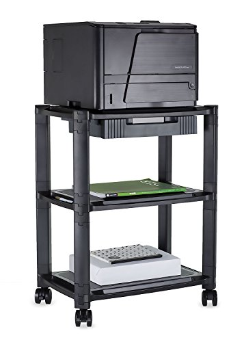Mount-It Printer Stand With Wheels And Drawer Rolling Printer Cart Height Adjustable Stacked Mobile Cart, 22 Lbs Capacity