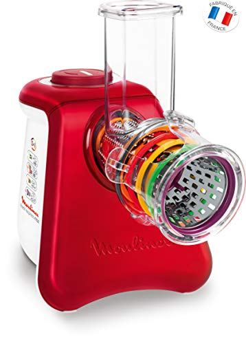 Moulinex dj812510Reibe und elektrischer Zerkleinerer Fresh Express Max 5in 1–Für Reiben, Schneiden/emincer, Kratzen und Design Die den Mixer Eis–Aluminium gebürstet–weiß/rot Rubin