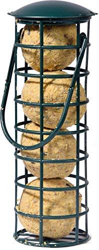 dobar Vogelfutter Futterspender inklusive Vier Meisenknödeln wiederbefüllbare Wildvogel-Futterstation, schwarz, Plastik, 1er Pack (1 x 370 g)