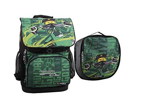 Lego Optimo - Set de mochila y accesorios escolares para niño, 2 piezas, NINJAGO, Energy, verde, con bolsa de deporte extraíble, bolsillo delantero con aislamiento térmico para fiambrera