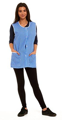 Blouse de travail boutonnée pour femme, tablier sans manches, motif Vichy, taille 36 à 58 - Bleu - XXL
