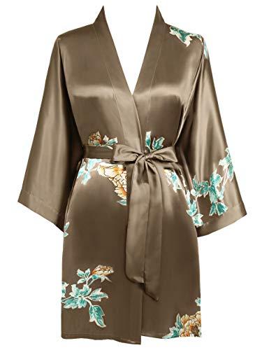 BABEYOND Morgenmantel Damen Kurz Blumen Muster Kimono Satin Robe Sommer Leicht Bademantel Mini Damen Schlafmantel Elegant Nachtwäsche(Stil4-Kaffee)