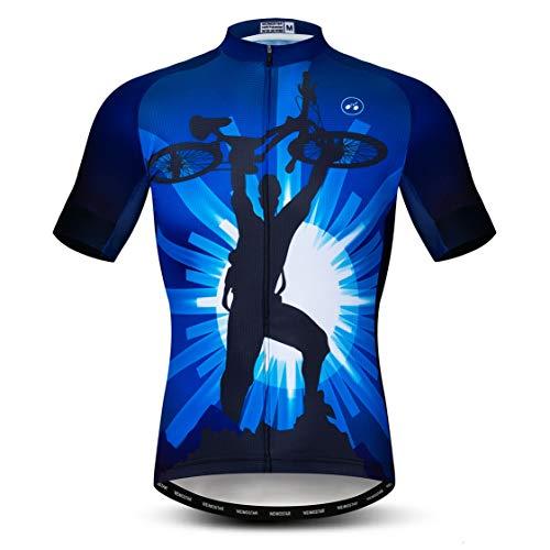 Weimostar Radtrikot Herren MTB Trikot Reißverschluss Kurzarm Biker Racing Tops Mountain Road Bekleidung Fahrrad Shirts Jacke Sommer Fahrrad Bluse für Herren Atmungsaktiv Schnelltrocknend Größe M
