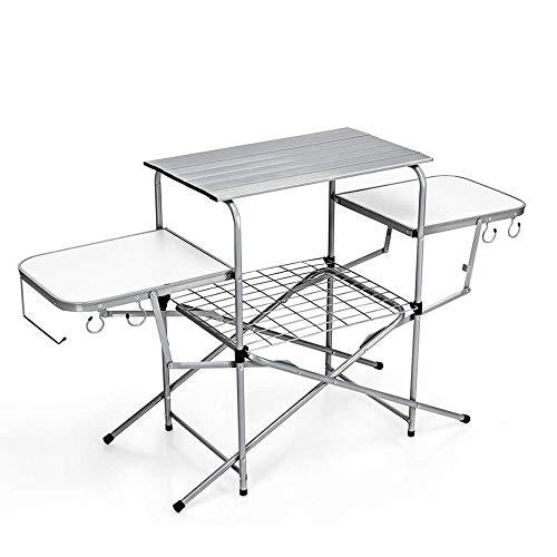 De aluminio ligero que acampa plegable, mesa de trabajo de la cocina con 2 Side Tableros, ganchos y bolsa de transporte, cubierta al aire libre Jardín Catering Mesa for barbacoa, Fiesta, picnic