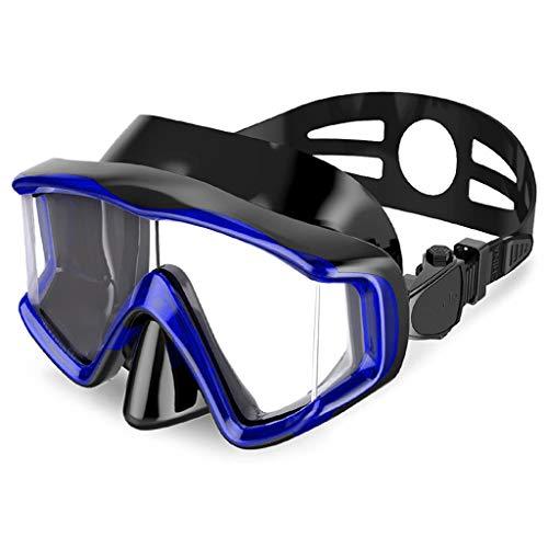 Máscara de buceo Gafas 3 Lados Que se zambullen Color antiniebla seco Completo del Adulto 4 del Equipo MUMUJIN (Color : Blue)