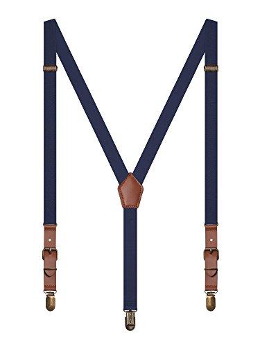 Irypulse Bretelle Retro Uomo Donna Adolescenti con 3 Classico Ottone Clip Y-Forma Elastici Registrabili per Altezza 150-180 cm Blu Navy
