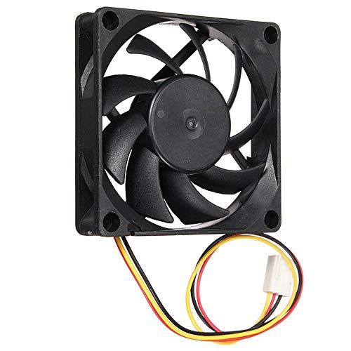 Tivivose Ventilador de computadora silencioso 7 cm / 70 mm / 70x70x15mm 12V DC 3Pin Computer/PC/CPU Caso de enfriamiento silencioso Fan # EW (Color : Black)