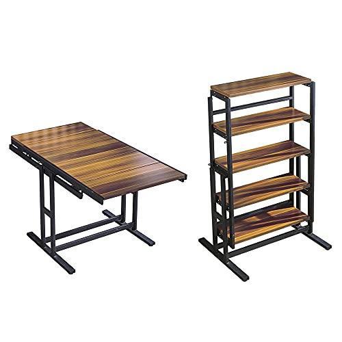 Brefhome Convertible Bookshelf Desk & Dining Table for Small Spaces,Multipurpose Shelf Display Rack