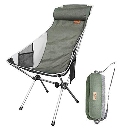 Nice C Ultraleichte High Back Folding Camping-Stuhl, EIN Upgrade mit Removable Kissen, Seitentasche & Tragetasche, Kompakt & Heavy Duty für Im Freien, Camping (Set 1 Grün)