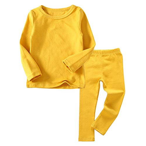 Toddler Boys Girls Thermal Underwear Long Sleeve T-Shirt Leggings 2Pcs Kids Winter Base Layer Set, (Yellow,6Years)