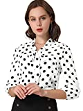 Allegra K Blusa De Lunares Cuello De Pajarita Hombro con Volantes Puño Elástico para Mujeres Blanco XL