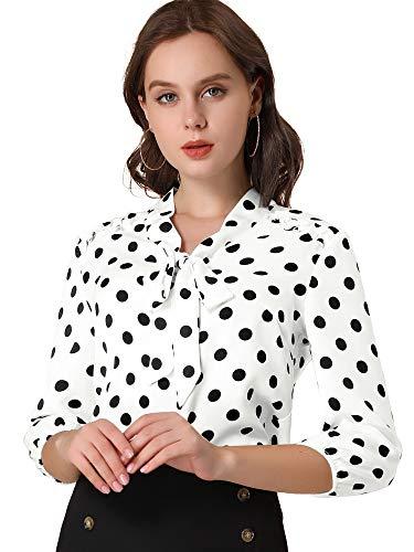 Allegra K Damen Langarm Lace Up Fliege Rüschen Polka Dots Top Bluse Weiß L