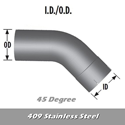 5' Exhaust Elbow 45 Degree 12' x 12' ID/OD 409 SS L545-1212S4