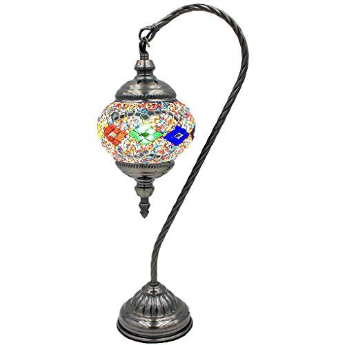 Silver Fever - Lámpara de mesa de cristal marroquí con base de bronce con bombilla E12 (onda neurológica)