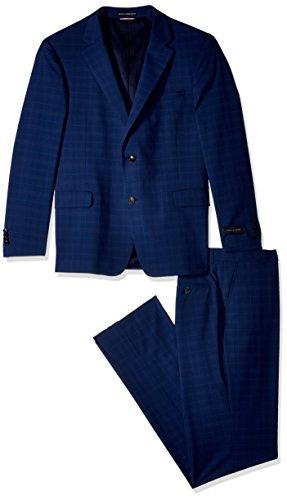 Tommy Hilfiger Men's Slim Fit Performance Suit with Stretch, Dark Blue Windowpane, 42 Regular