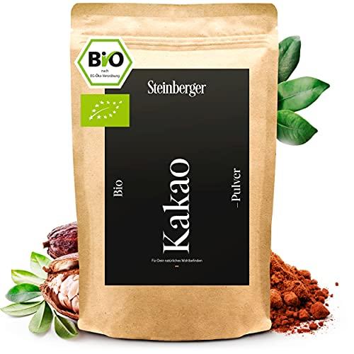 BIO Kakaopulver von Steinberger   ungesüßtes stark entöltes Kakaopulver zum Verfeinern von Süßspeisen   500g im wiederverschließbaren Aromapack