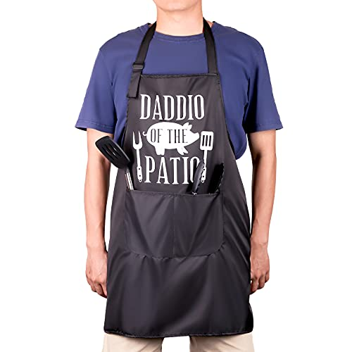 JASBON BBQ Funny Cooking Aprons for Men black, Grill Apron for Dad,Chef Apron,2 Pockets,Dad Gifts,Grill Cooking BBQ Kitchen Chef Apron