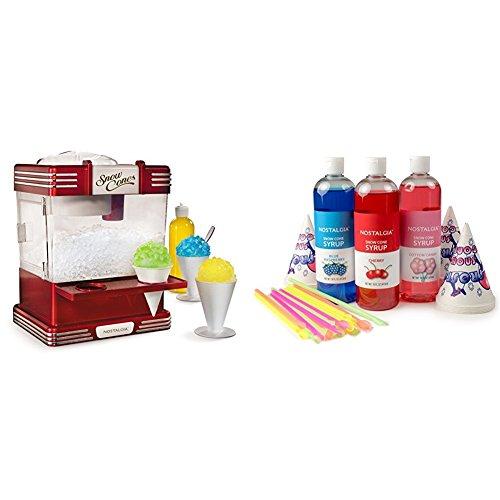 Nostalgia RSM602 Retro Snow Cone Maker with Premium Snow Cone Syrup Party Kit