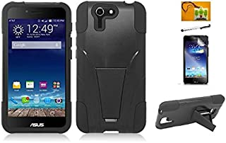 LF 4 in 1 Bundle - Hybrid Dual Layer Fushion Case with Stand, Stylus Pen, Screen Protector & Wiper for Asus Padfone X (Stand Black)