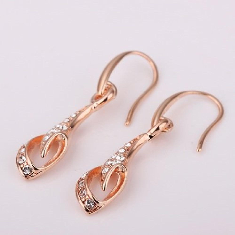 KDesign s 18K pink gold Leaf Flower White Diamond Hoop Drop Hook Stud Earrings GE107