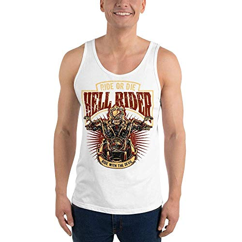 RockabillyM Hell Rider Motorcycle Biker Skull, Camiseta de Tirantes Unisex, XS - 2XL, 10 Colores Diferentes Weiß 2XL