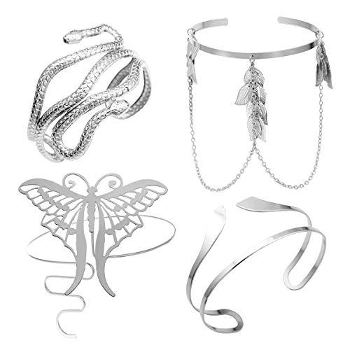 RechicGu Silver Pack 4pcs Grecian Cleopatra Bracelet Set Armband Upper Arm Bicep Cuff Band Wrap Bangle Armlet Adjustable Belly Dance