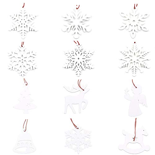 Mirrwin Decorazioni per Alberi di Natale con Fiocchi di Neve Fiocco di Neve in Legno Bianco Fiocchi di Neve di Natale per la Casa Vacanze Natalizie Festa Compleanno Decorazioni Invernali 12 Pezzi