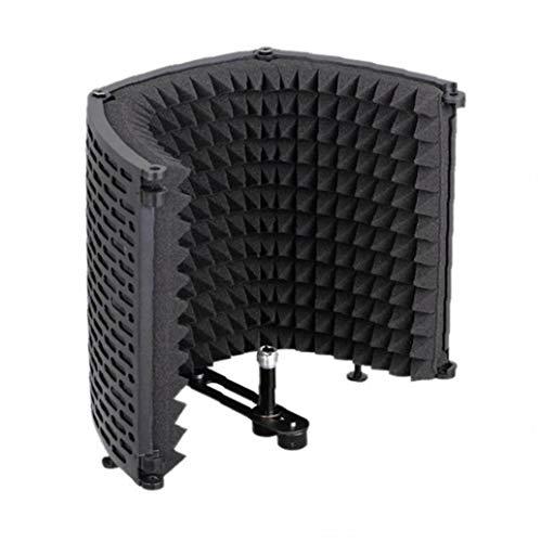 Micrófono de sonido del micrófono espuma absorbente de aislamiento del escudo protector de la cubierta de plástico de insonorización insonoro Micrófono Pantalla Negro de tres puertas