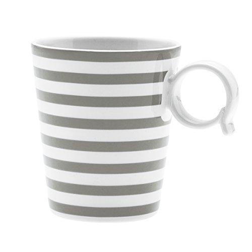 Bruno Evrard Mug à Rayures Taupe en Porcelaine 32cl - Lot de 4 - Freshness Lines