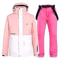 スノーボードウェア スキーウェア メンズ レディース 上下セット 防寒 撥水 防風 保温 スノボーウェア スノーウェア (Color : Pink, Size : Small)
