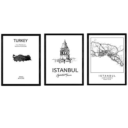 Pack von Plakaten und Denkmäler Ländern. Istanbul Stadtplan, Karte Denkmal Galataturm Türkei. A3 Größe