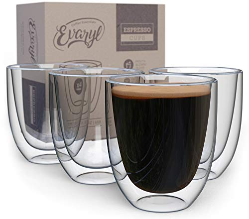 Double Wall Espresso Cups - Insulated Coffee Mug Set Of 4 - Nice Clear Glass Shot Cup - 2.6oz Demitasse Glasses - Nice Mugs For Lungo, Doppio & Turkish - Handcrafted Present In Gift Box
