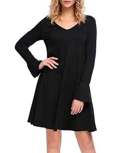 SE MIU Damen Tunika-Kleid mit Rundhalsausschnitt, langärmelig, rückenfrei, lockerer Schnitt XX-Large Style 1_Black