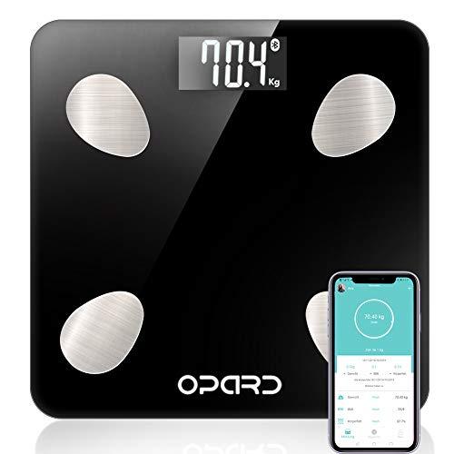 Opard Körperfettwaage Personenwaage mit Körperfett Bluetooth Waage Personen digital Körperwaage Digitalwaage Körperanalysewaage Gewichtswaage mit App Fettwaage für BMI, Fett,Protein,Muskel,(schwarz)