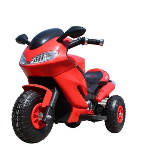 DYB Motocicleta eléctrica para niños Triciclo para niños Botella de Carga Coche Niño Coche de Juguete Puede sentar Personas Motocicleta (Color: Rojo, Tamaño: Rueda neumática de Doble tracción)