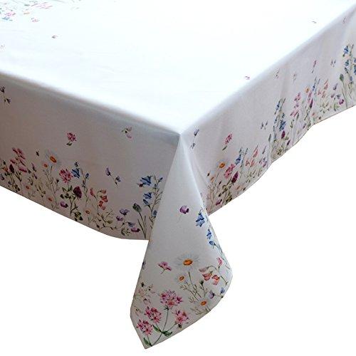 heimtexland ® Tisch Dekoration Serie Blumen Weiß Bunt Tischdecke Mitteldecke 130x170 rechteckig Blumenwiese Mehrfarbig Typ520