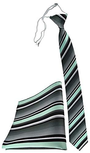 TigerTie Security Sicherheits Krawatte Einstecktuch in mint silber grau weiss gestreift - vorgebunden mit Gummizug