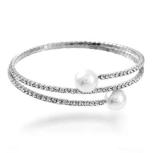 NTLX Crystal Bracelet for Women - Rhinestone Pearl Coil Bracelet – Flexible & Adjustable – Silver Plated - Bridal, Wedding, Prom, Party, Pageant, Evening, Casual, Tennis Bracelet - with Gift Box