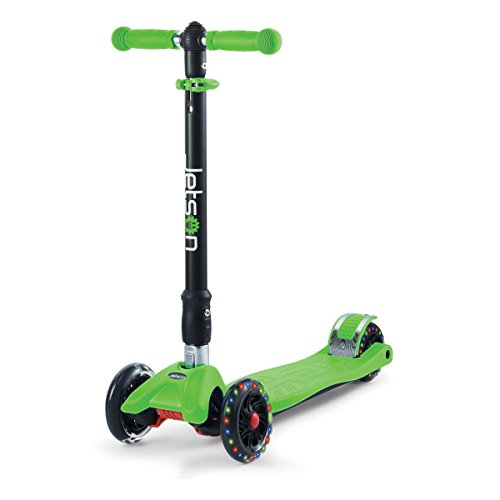 Jetson Electric Bike Twin Folding 3-Wheel Kick Scooter with Light-Up Wheels, Lean-to-Steer Design and Height Adjustable Handlebar, for Kids 5 and Up - Green, Model:JTWIN-GRN