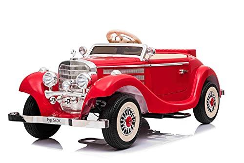 Coche de Juguete eléctrico para Montar 540K, Rojo, Control Parental Local por Volante, Mando a Distancia de 2,4 GHz, batería de 12 V14 AH, Motor 4 X, Ruedas EVA, Bluetooth, USB