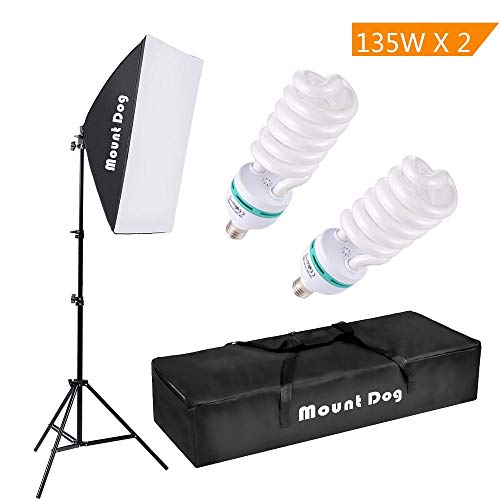 MOUNTDOG 1350W Photography Continuous Softbox Lighting Kit 20quotX28quot Professional Photo Studio Equipment with 2pcs 135W E27 Socket 5500K Video Lighting Bulb for Filming Portraits Shoot